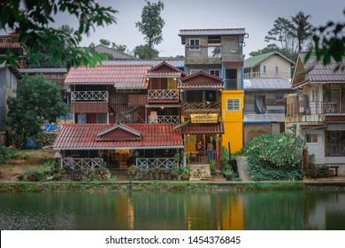 KANCHANABURI,THAILAND-JULY 9,2019:Traditional Coffee shop in Etong village at kanchanaburi Thailand.pilok one mine or etong village the hidden village near the Thai-Myanmar border