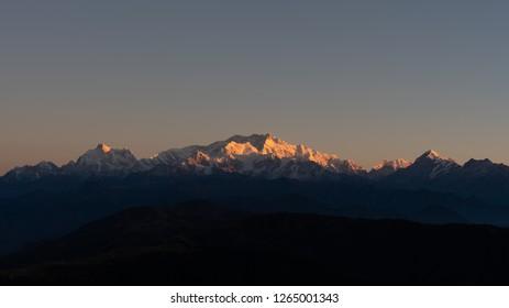 Kanchenjunga mountain(Reclining Buddha) from Sandakphu in Dajeeling with early morning