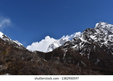 Kanchenjunga trek in Himalaya, Nepal. Near Lhonak village - start point to Kanchenjunga base camp