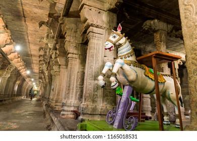 Kanchipuram, India - August 24, 2018 :   Decor horse car for god and goddess in kanchipuram temple, tamilnadu, India
