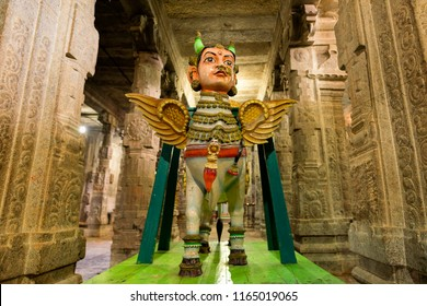 Kanchipuram, India - August 24, 2018 : Decor cow car for god and goddess in Hindu temple, tamilnadu, India