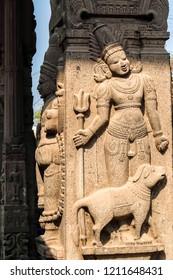 Kanchipuram, India - Circa January, 2018. View of Sri Ekambaranathar Temple in Kanchipuram. Details of architecture.
