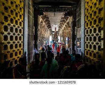 Kanchipuram, India - Circa January, 2018. Devotees visit Sri Ekambaranathar Temple in Kanchipuram.