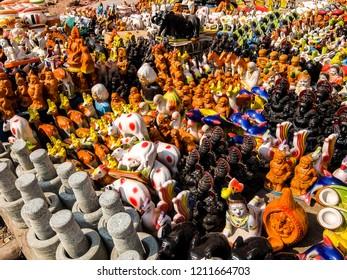 Kanchipuram, India - Circa January, 2018. Souvenir shop near Sri Ekambaranathar Temple in Kanchipuram.