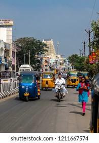 Kanchipuram, India - Circa January, 2018. Street traffic in Kanchipuram.