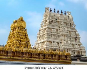 Kanchipuram, India - Circa January, 2018. View of Kamakshi Amman Temple in Kanchipuram.