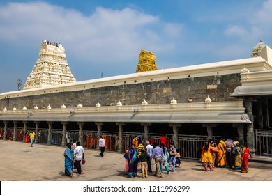 Kanchipuram, India - Circa January, 2018. Devotees visit Kamakshi Amman Temple in Kanchipuram.