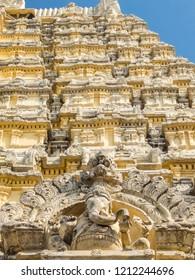 Kanchipuram, India - Circa January, 2018. View of Sri Ekambaranathar Temple in Kanchipuram.