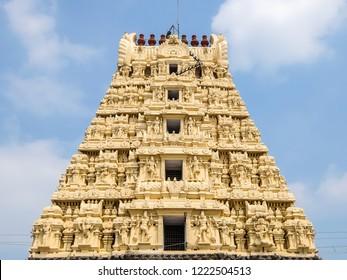 Kanchipuram, India - Circa January, 2018. View of Sri Kachabeswarar Temple in Kanchipuram, India.