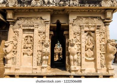 Kanchipuram, India - Circa January, 2018. View of Kailasanathar Temple in Kanchipuram, India.