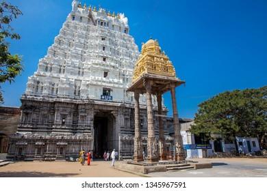 KANCHIPURAM, INDIA - Jan 19 - Indian tourists explore ancinet temples of Tamil Nadu on January 19, 2015 in Kanchipuram, India