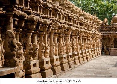 Kanchipuram, India, Kailasanathar Temple, inner side of Outer Wall.
