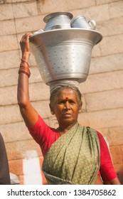 KANCHIPURAM, TAMIL NADU, INDIA, 02 DECEMBER 2017 : Street Vendor selling various goods on the street of Kanchipuram