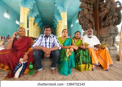 KANCHIPURAM, TAMIL NADU, INDIA, 02 DECEMBER 2017 :  Devotee at Varadaraja Perumal Temple is a Hindu temple dedicated to Lord Vishnu, that was originally built by the Cholas in 1053