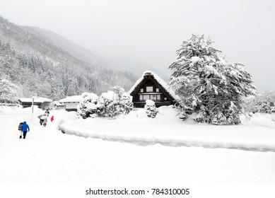 Kanda House of Shirakawago, Japan during winter