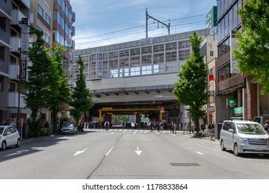KANDA, TOKYO, JAPAN - APRIL 26, 2018. The elevated railway tracks in the Kanda district of Tokyo. These are some of the oldest railway lines in Japan.