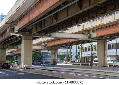 KANDA, TOKYO, JAPAN - APRIL 26, 2018. The Shuto expressway in the Kanda district of Tokyo. The elevated roadway was constructed in 1962.
