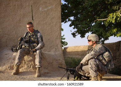 KANDAHAR, AFGHANISTAN - JULY 2010: US Soldiers on patrol in Kandahar Province, Afghanistan.