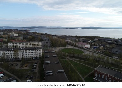 KANDALAKSHA, RUSSIA - May 21, 2019: Aerial Townscape of Kandalaksha Town located in Kola Peninsula in Nothern Russia