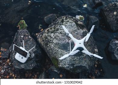 KANDALAKSHA, RUSSIA - September 19, 2018: DJI Phantom 4 Pro V2.0 Quadcopter Drone Outdoors