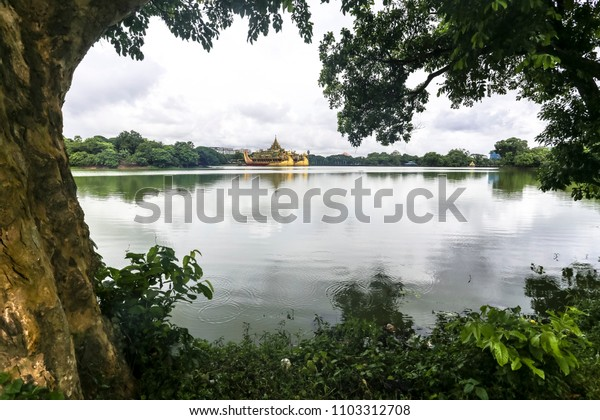 Kandawgyi Lake Also known as Royal Lake in Yangon Myanmar Burma Asia, this artificial lake, built by the British as a reservoir, is most attractive at sunset.