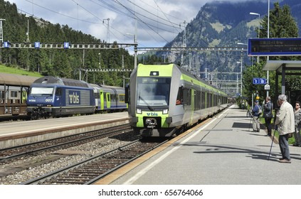 KANDERSTEG, SWITZERLAND - September 6, 2015. BLS trains at the station platforms at Kandersteg Switzerland