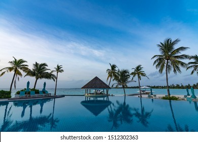 Kandima, Dhaalu Atoll, Maldives -24 Juny, 2019: Located on the largest island in  Maldives has the longest outdoor swimming pool in the Maldives, an abundance of water-sports, the largest beach club