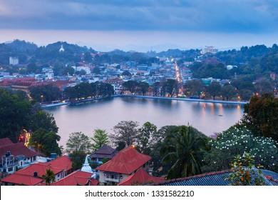 Kandy Lake and Kandy city aerial panoramic view from Arthur's Seat Kandy City Viewpoint, Sri Lanka