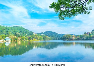Kandy Lake located in the centre of the city and was created in XIX century, Sri Lanka