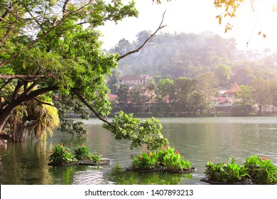 Kandy lake near to Sri Dalada Maligawa (Temple of tooth relic, Temple of Buddha tooth), Kandy city, Sri Lanka. UNESCO world heritage site