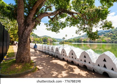 Kandy Lake promenade in Kandy city, Sri Lanka