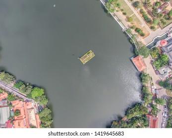 Kandy Lake top view, drone shot kandy, beautiful city kandy Sri Lanka