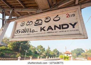 Kandy sign on a railway station in Kandy, Sri Lanka.