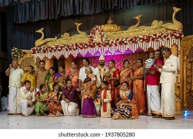 Kandy, Sri Lanka - 09-03-24 - Extended Family Portrait at Sri Lanka Hindu Wedding.