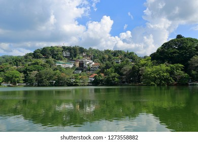 Kandy, Sri Lanka - April 02, 2016: The city of Kandy. Kandy Lake and a view from the city. The famous tooth temple is in this city. It is also the old capital of Sri Lanka.