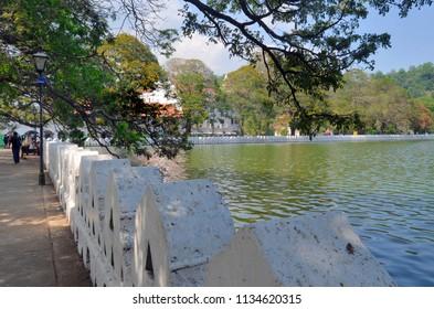 Kandy, Sri Lanka - April 5, 2018: View of Bogambara Lake, the artificial lake of Kandy.