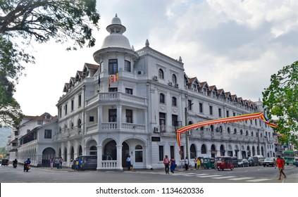 Kandy, Sri Lanka - April 5, 2018: The famous Qeen's Hotel at the intersection of Sri Dalada Veediya and DS Senanayake Veediya.