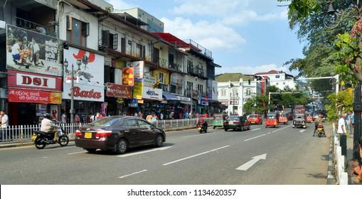 Kandy, Sri Lanka - April 5, 2018: The bustling and noisy Sri Dalada Veediya, one of the main streets of Kandy.