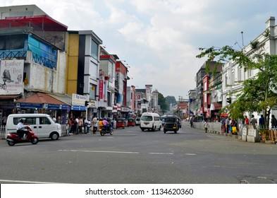 Kandy, Sri Lanka - April 5, 2018: EL Senanayake Veediya at the intersection with Sri Dalada Veediya.