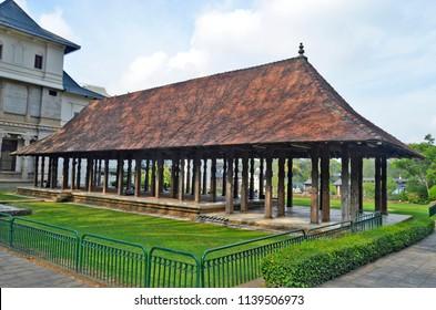 Kandy, Sri Lanka - April 6, 2018: The Magul Maduwa (Audience Hall) in the palatial complex of Sri Dalada Maligawa, the Temple of the Sacred Tooth.
