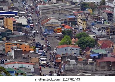 Kandy, Sri Lanka, April 7, 2018 - High angle view of Colombo Street in Kandy.