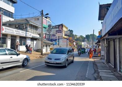 Kandy, Sri Lanka - April 7, 2018: Peradeniya Road in Kandy.