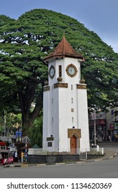Kandy, Sri Lanka - April 8, 2018: The Clock Tower, along Sri Dalada Veediya.