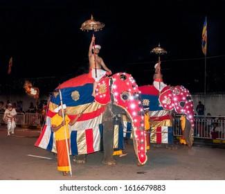 Kandy, Sri Lanka, Aug 2015: Elephant  forming part of the procession during the Esala Perahera Festival