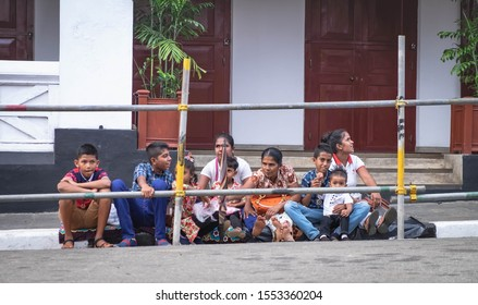Kandy, Sri Lanka - AUGUST 04 2019: Many Sri Lanka people waiting around the scared tooth temple in Kandy Sri Lanka. It's Perahera festival in Kandy, Sri lanka.