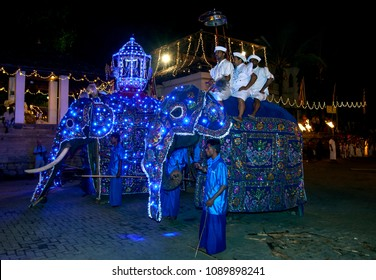 KANDY, SRI LANKA - AUGUST 07, 2014 : Ceremonial elephants dressed in blue cloaks prepare to parade through the streets of Kandy during the Buddhist Esala Perahara (great procession).