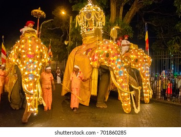 KANDY, SRI LANKA- AUGUST 07: The Kandy Esala procession On August 07 2017 In Kandy, Sri Lanka. This historical procession is held annually to pay homage to the Sacred Tooth Relic of Lord Buddha