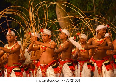 KANDY, SRI LANKA- AUGUST 15: The Kandy Esala procession On August 15 2016 In Kandy, Sri Lanka. This historical procession is held annually to pay homage to the Sacred Tooth Relic of Lord Buddha