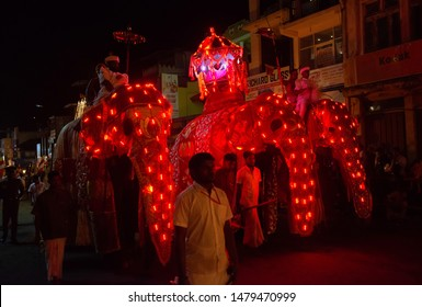 Kandy, Sri Lanka : August-05-2019 : Group of ceremonial elephant carrying the Sacred Casket in Kandy Esala Perahera parade also known as the festival of the Buddha tooth.
