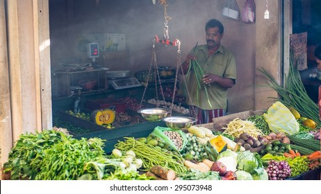 KANDY, SRI LANKA - Circa July 2014: a market stall in sri lanka